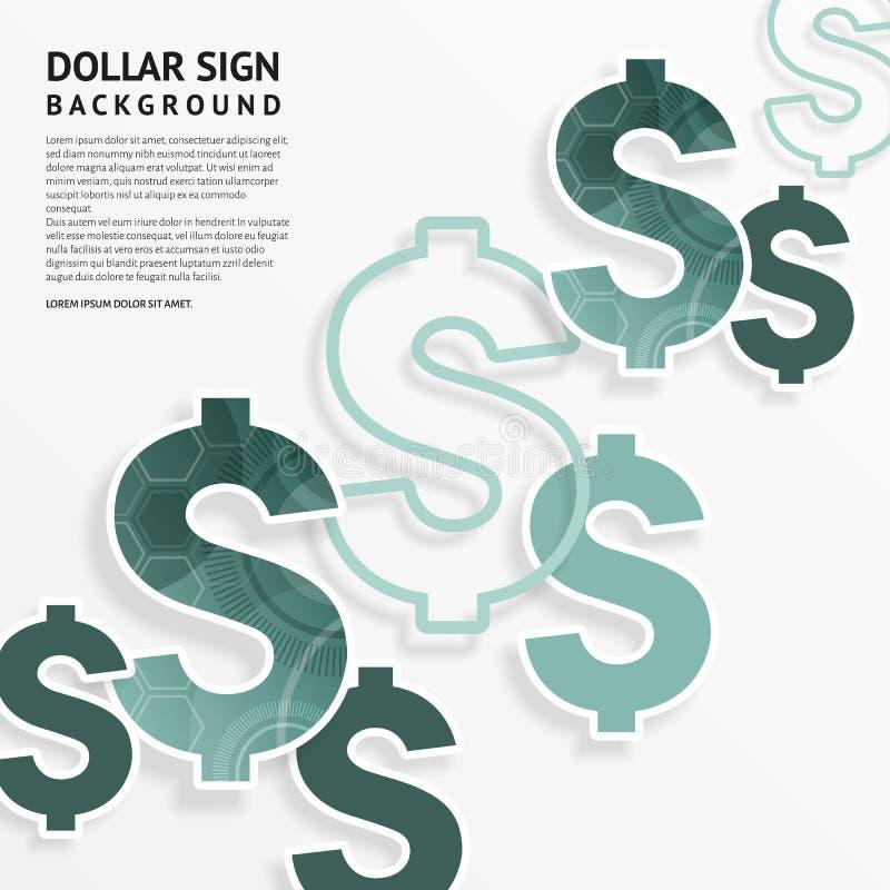 Dollartekens op witte achtergrond Vector royalty-vrije illustratie