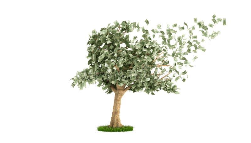dollarträd med hundra dollarräkningar på den vita 3d illustrationen n arkivbild