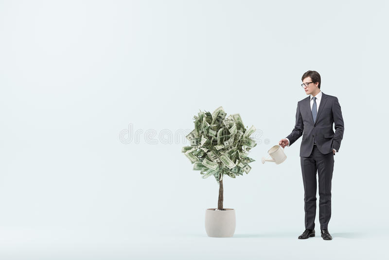Dollarträdet i en kruka, blått hyr rum, affärsmannen framförande 3d arkivbild