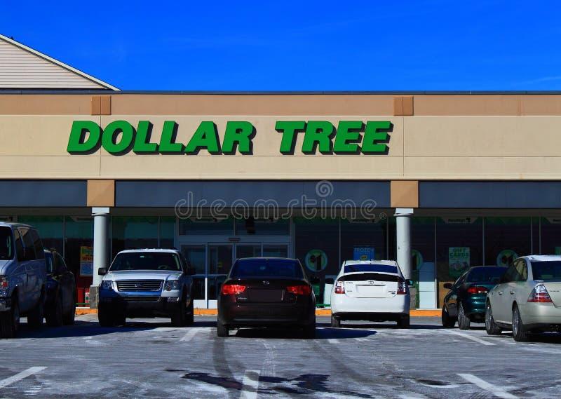 Dollarträdlågprisaffär royaltyfria foton