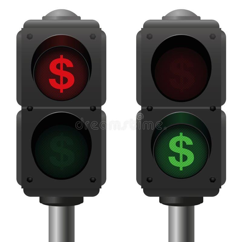 Dollartrafikljusaffär royaltyfri illustrationer