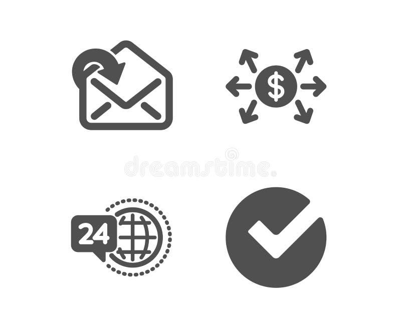 Dollarutbytet, mottar post och symboler för service 24h Verifiera tecknet Betalning inkommande meddelande, appellservice vektor royaltyfri illustrationer
