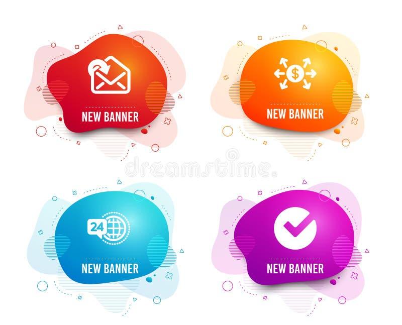 Dollarutbytet, mottar post och symboler för service 24h Verifiera tecknet Betalning inkommande meddelande, appellservice vektor vektor illustrationer