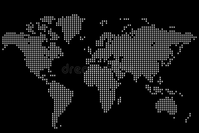 Dollarvärldskarta royaltyfri illustrationer