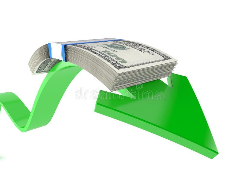 Dollarvaluta med den gröna pilen vektor illustrationer