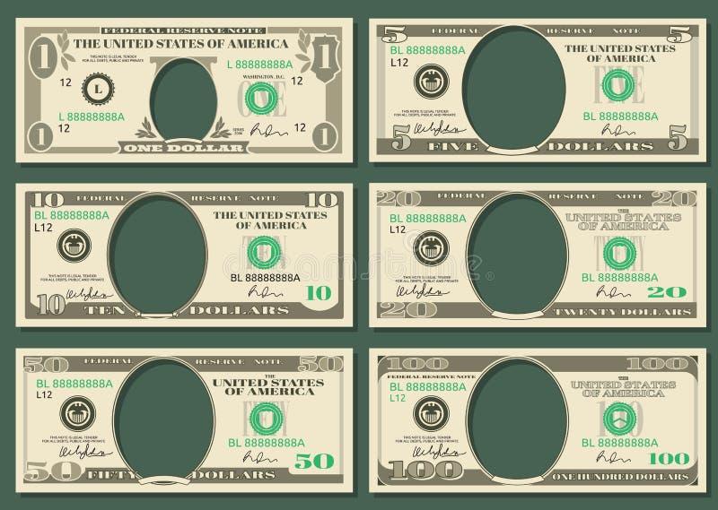 Dollarvaluta noterar vektorpengarmallar royaltyfri illustrationer