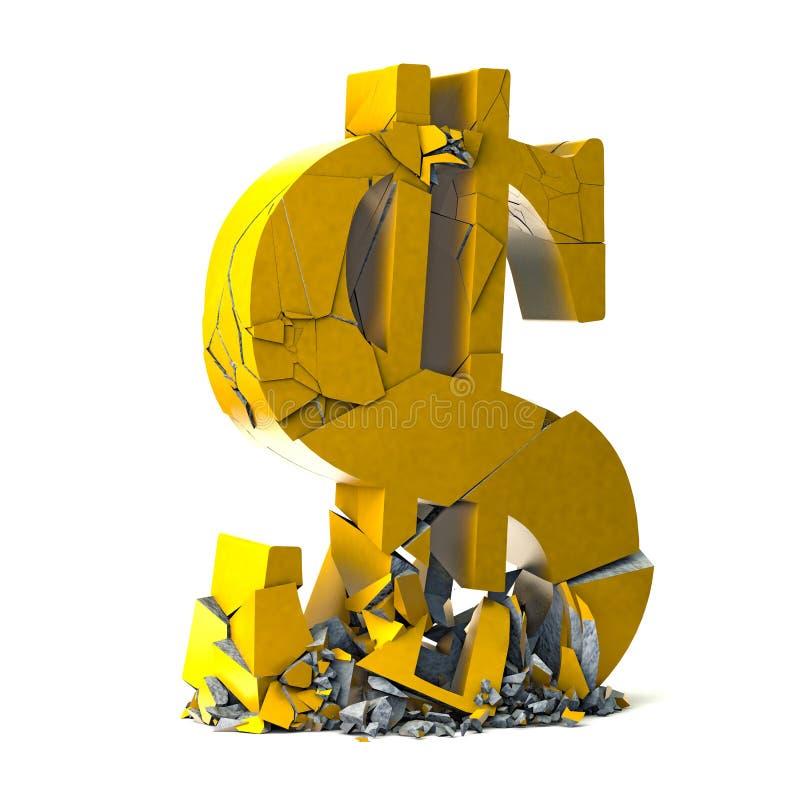 Dollarvalutasymbol på vit bakgrund royaltyfri illustrationer