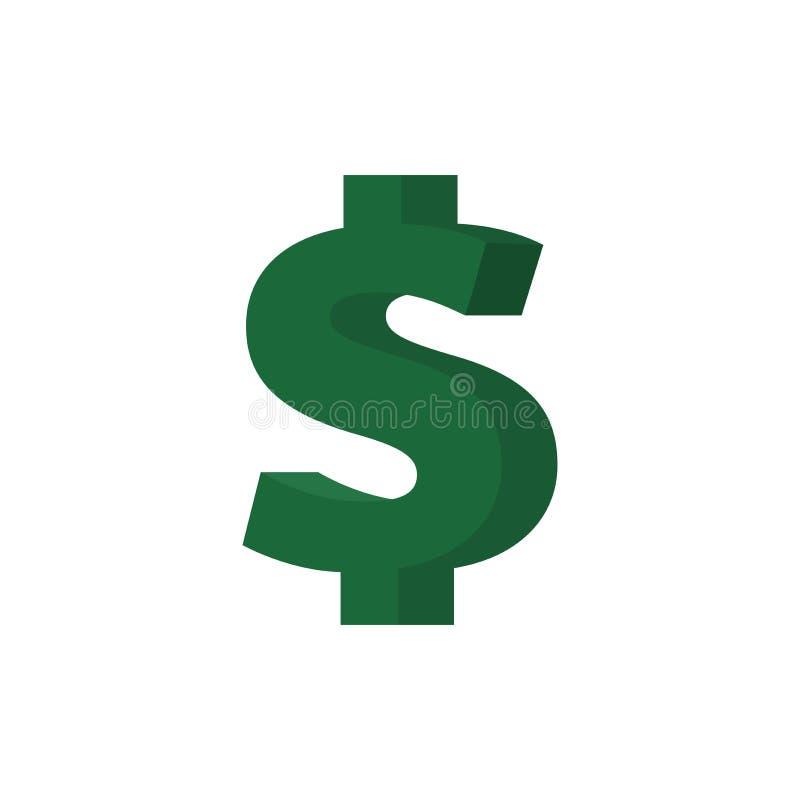 Dollarvektorsymbol stock illustrationer