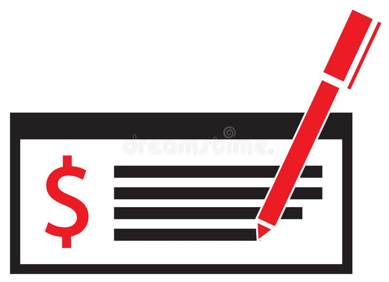 Dollarwährungsikone oder -logo auf einem Gehaltsscheck oder einem Scheck vektor abbildung
