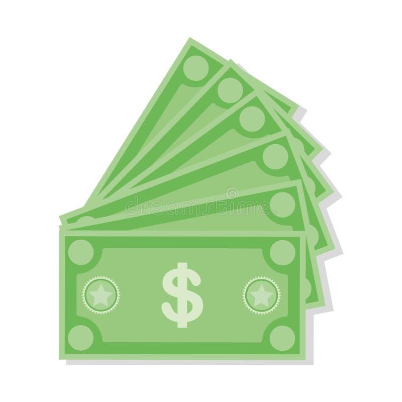 Dollarw?hrungs-Banknotenikone, Vektorillustration auf Lager Dollarwährungsikone in der flachen Art Geldbargeld stock abbildung