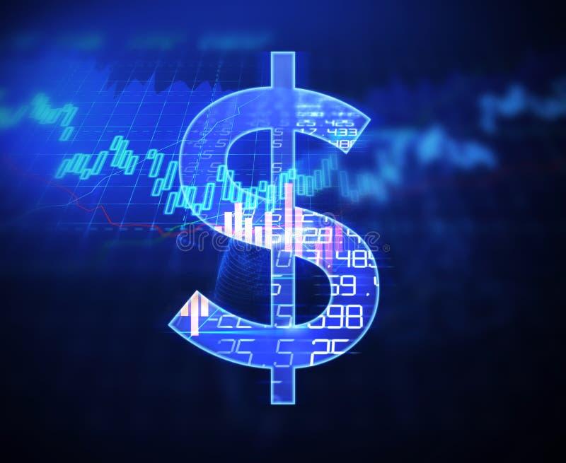 Dollarzeichen auf abstraktem Finanztechnologiehintergrund vektor abbildung
