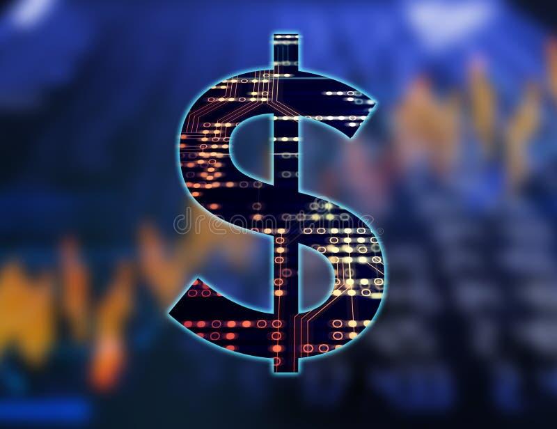 Dollarzeichen auf abstraktem Finanztechnologiehintergrund stock abbildung