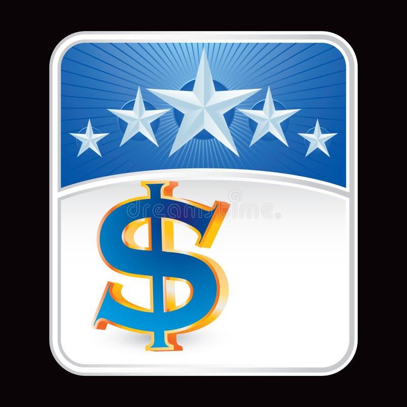Dollarzeichen auf Reklameanzeige des blauen Sternes lizenzfreie abbildung