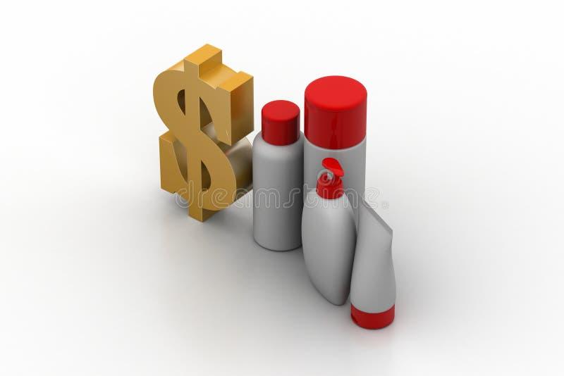 Dollarzeichen mit Kosmetikprodukten lizenzfreie abbildung