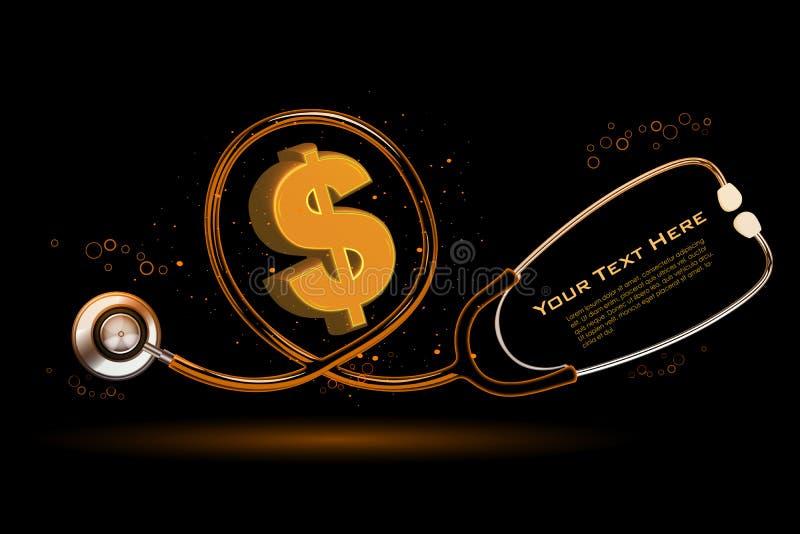 Dollarzeichen mit Stethoskop vektor abbildung