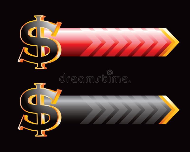 Dollarzeichenfahnen stock abbildung