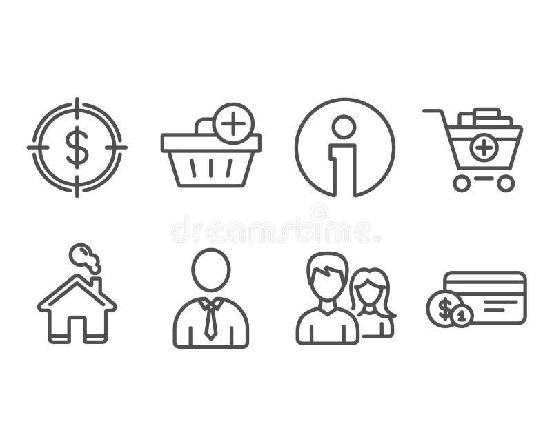 Dollarziel, addieren Produkte und menschliche Ikonen Addieren Sie Kauf-, Paar- und Zahlungsmethodenzeichen stock abbildung