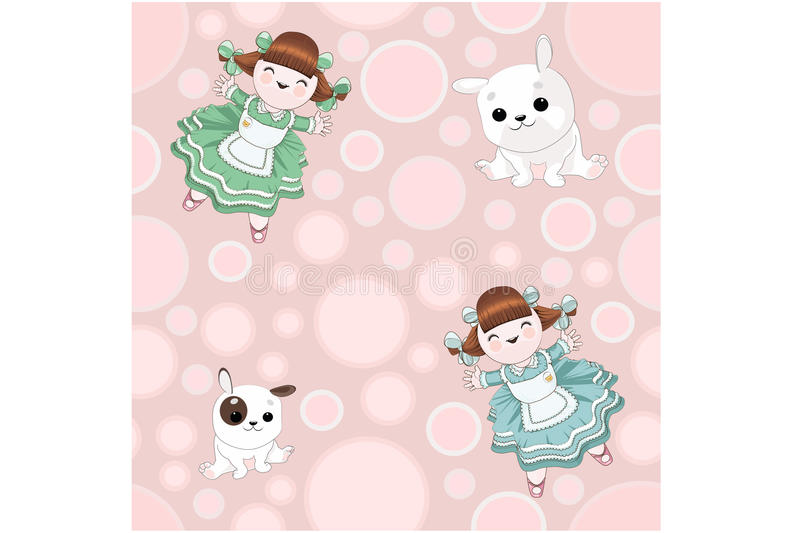 Dollhouse girls and funny puppies on a bright colorful background royalty free stock photos