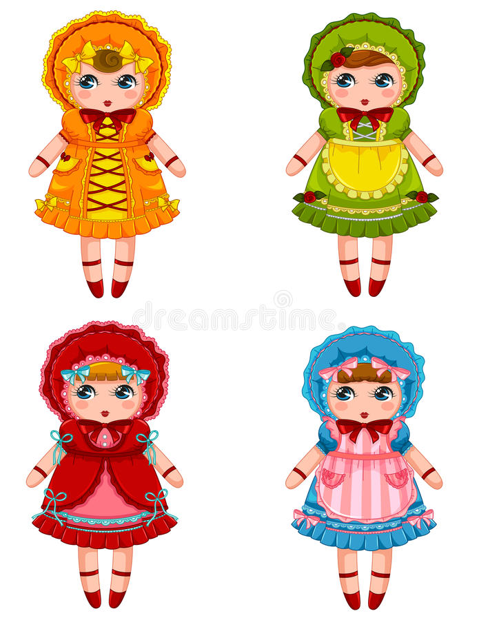 Dolls collection royalty free illustration