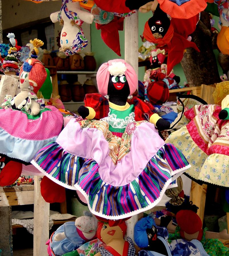 Dolls handmade rich of beautiful colors royalty free stock photography
