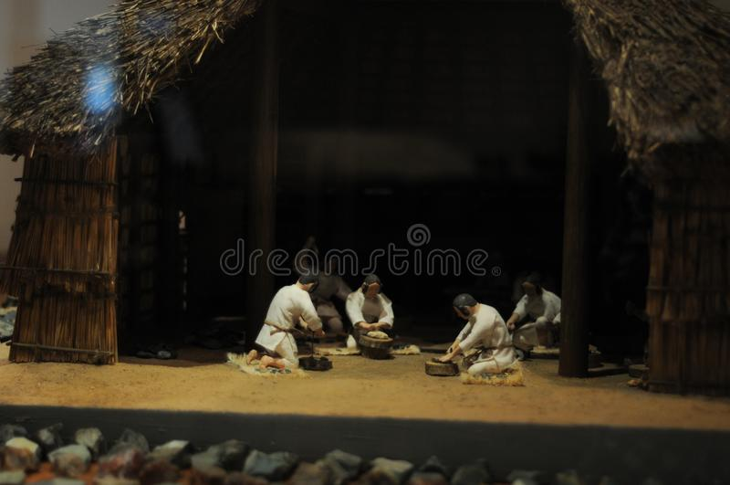 Dolls of Japanese people in Yayoi Era, about 2000 years ago. Yayoi era is Japan`s time period long time ago.Their hairstyle is ve. Ry unique. In summer time royalty free stock images