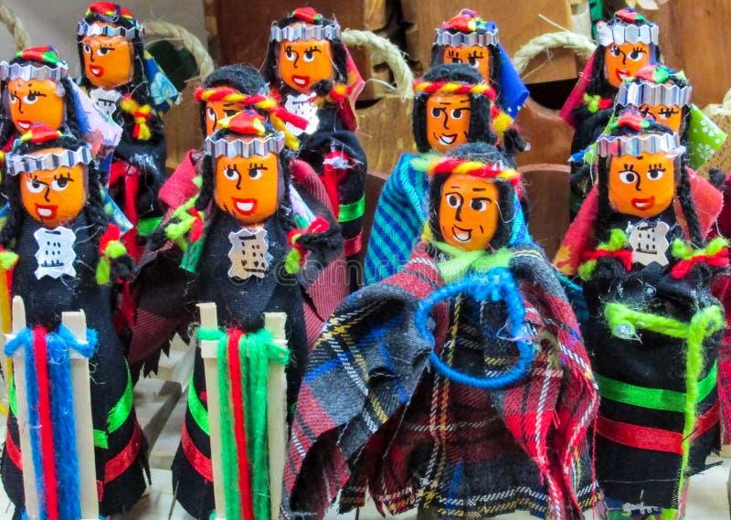 Dolls at mercado de las brujas in Bolivia. South America souvenir traditional crafts gift shop, Bolivia. Native american Idols at mercado de las brujas in La Paz royalty free stock photography