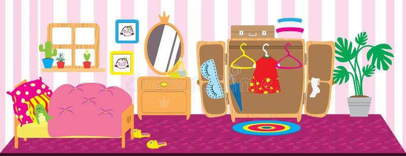 Dolls room interior. Horizontal back banner. Flat style cartoon illustration. vector illustration