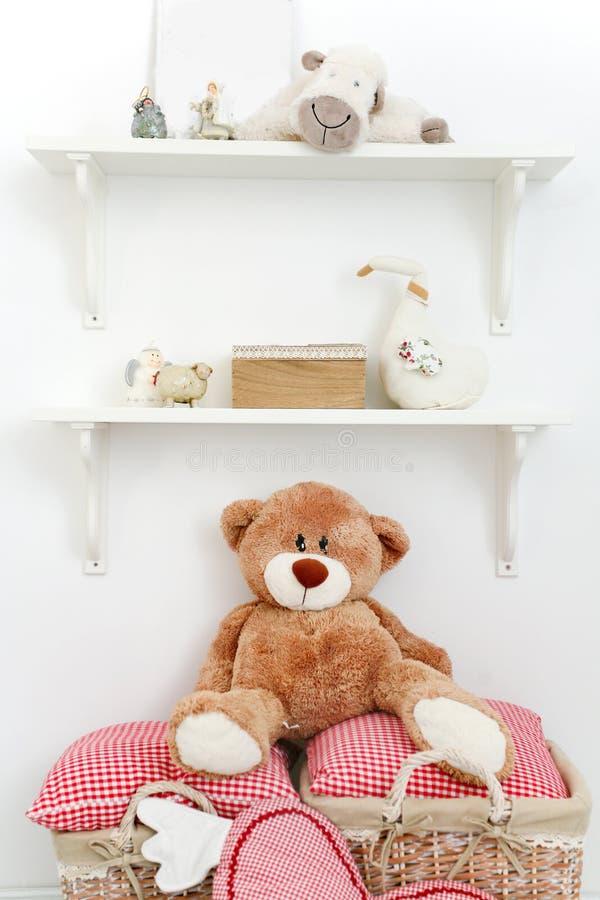 Toys on shelves royalty free stock photo