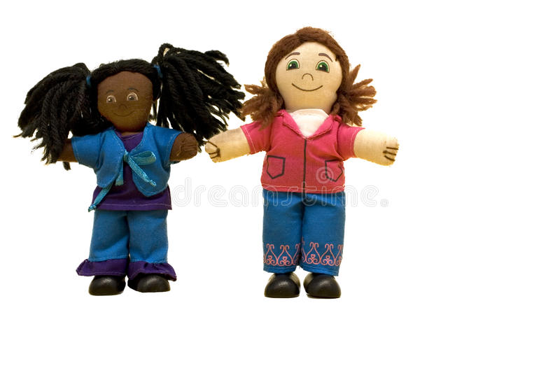 Dolls; two doll friends royalty free stock photography