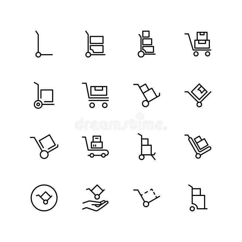 Dolly vlakke pictogramreeks vector illustratie