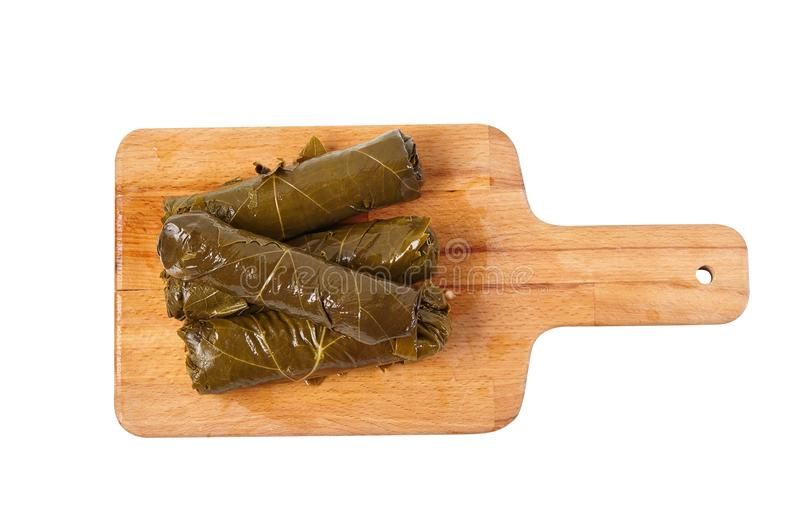 Dolma. Delicious and healthy food. Grape leaves. Vegetables. Isolated. royalty free stock photo