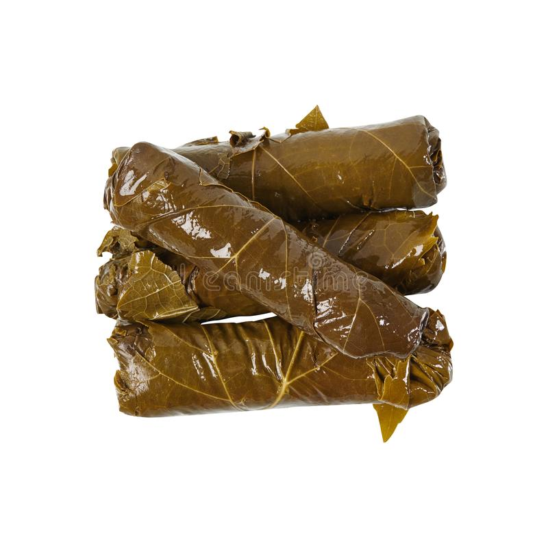 Dolma. Delicious and healthy food. Grape leaves. Vegetables. Isolated. For your design royalty free stock photography