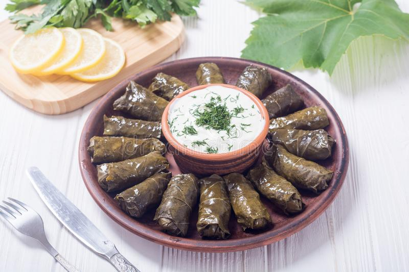 Dolma from grape of vines stock photo