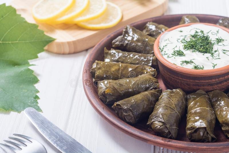 Dolma from grape of vines. With rice , meat and spices royalty free stock image