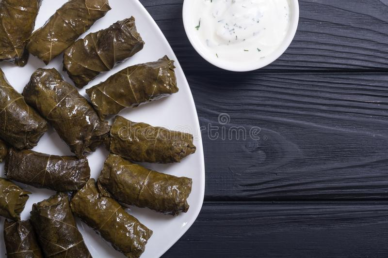 Dolma from grape of vines. With rice , meat and spices stock photography