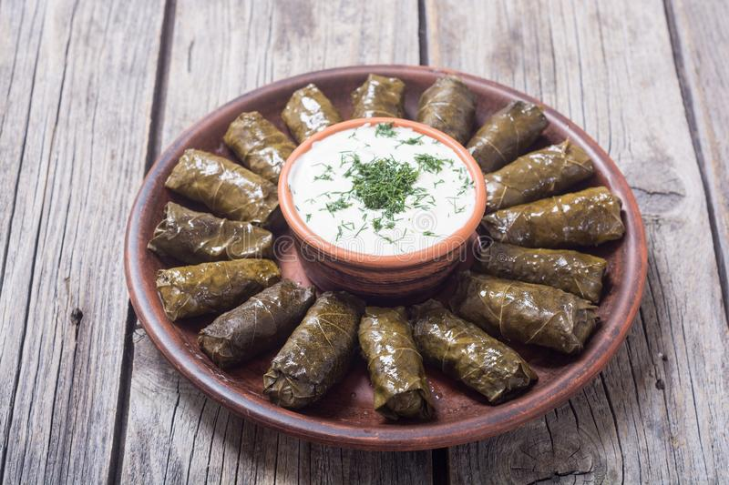 Dolma from grape of vines. With rice , meat and spices stock image