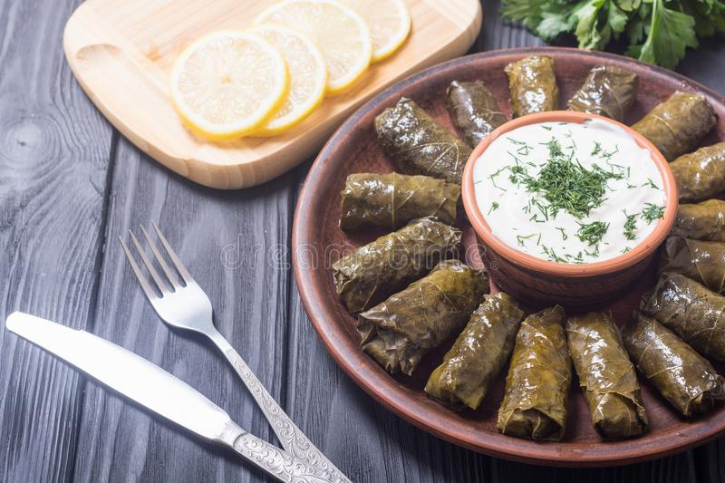 Dolma from grape of vines. With rice , meat and spices royalty free stock photography