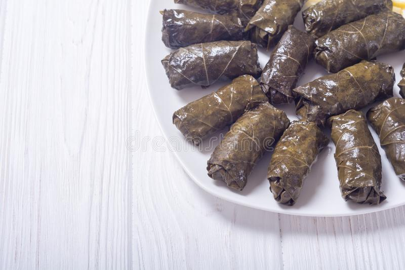Dolma from grape of vines. With rice , meat and spices stock photo