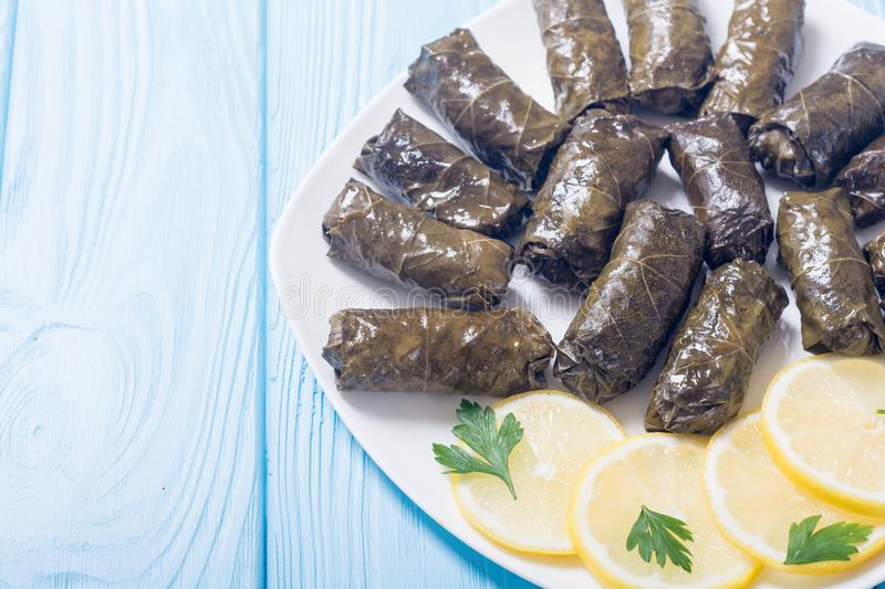 Dolma from grape of vines. With rice , meat and spices royalty free stock photos