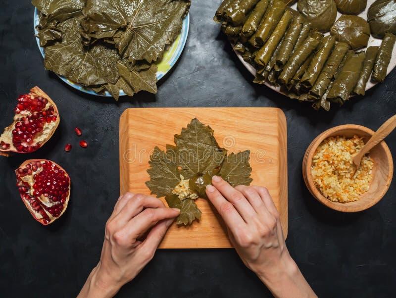 Dolma Stuffed Grape leaves. Mediterranean cuisine. Dolma - Sarma Stuffed Grape leaves. Mediterranean cuisine royalty free stock image