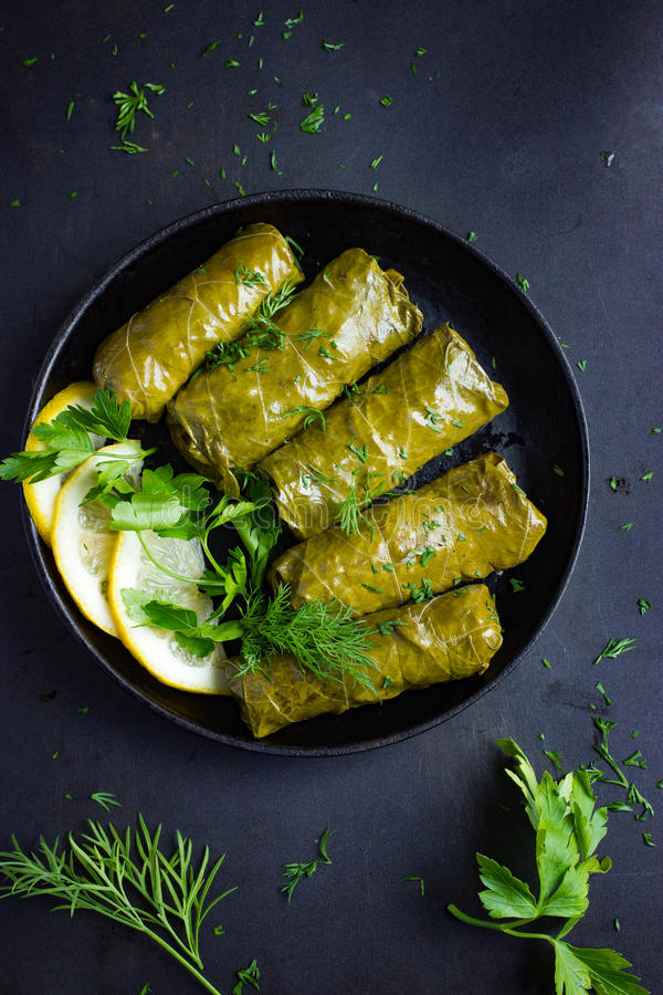 Dolma, stuffed grape leaves with rice and meat royalty free stock photography