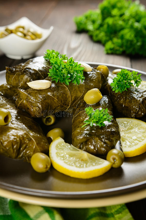 Dolma - stuffed grape leaves with rice and vegetable royalty free stock photography