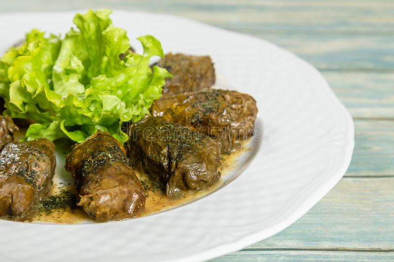 Dolmatolma, sarma - stuffed grape leaves with rice and meat. Traditional Caucasian, Ottoman, Turkish and Greek cuisine.  royalty free stock photo