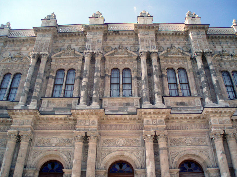 Dolmabahce宫殿,伊斯坦布尔,土耳其天视图  库存照片