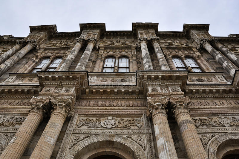Dolmabahce Palace on a cloudy day royalty free stock photos