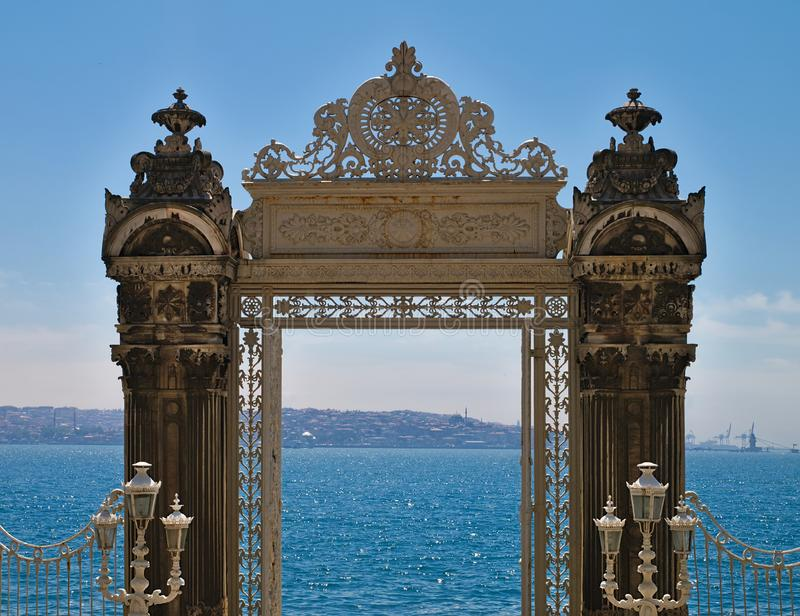 Dolmabahce palace exterior gate stock photography