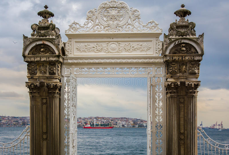 Dolmabahce Palace Gate leading to the Bosphorus royalty free stock images