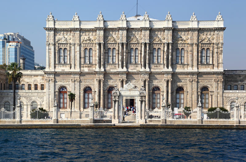 Dolmabahce Palace Grounds. The magnificent Baroque style Dolmabahce Palace on the Bosporus straits, once the home of the Ottoman sultans and Ataturk, now a royalty free stock photography
