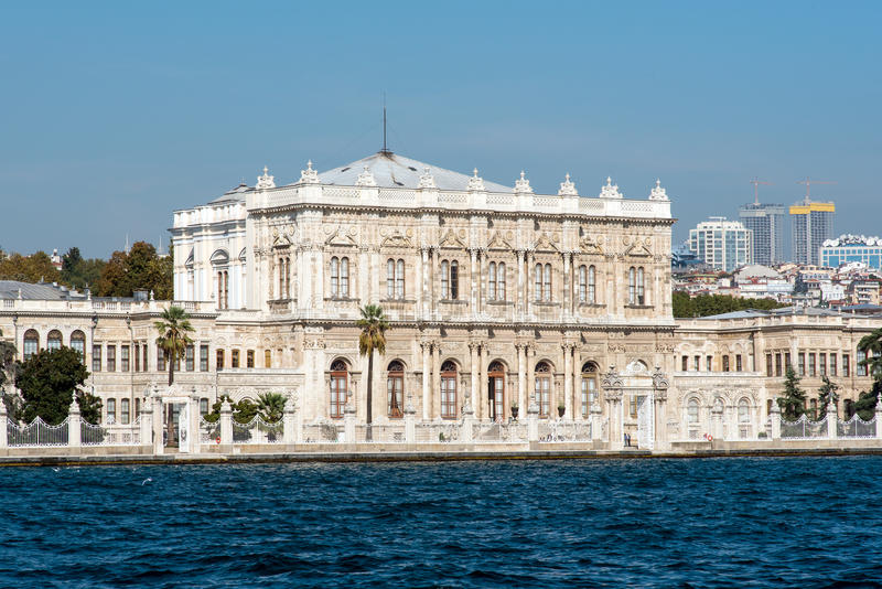 The Dolmabahce Palace in Istanbul. Seen from the Bosphorus stock photo