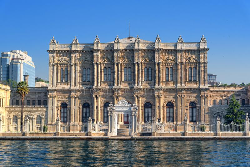Facade of Dolmabahce palace, waterfront view from the Bosphorus, Istanbul Turkey stock image